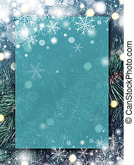 Christmas background design of blank transparent board with snow and snowflake on xmas tree