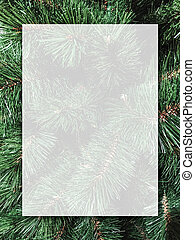 Christmas background design of blank white transparent board on xmas tree