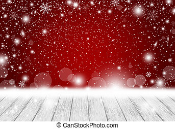 Christmas background design of blank white wood with falling snow vector illustration