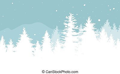 Christmas background design of Fir trees with snow falling in the winter vector illustration