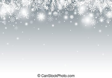 Christmas background design of pine leaves in the winter vector illustration