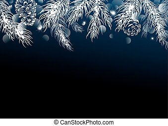 Christmas background design of pine leaves with bokeh vector...