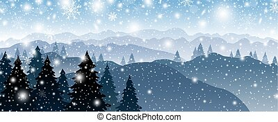 Christmas background design of pine tree and mountain with snow falling in winter vector illustration