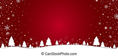 Christmas background design of pine tree and snowflake with snow falling in the winter vector illustration