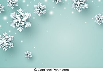 Christmas background design of snowflake and snow falling in the winter with copy space vector illustration