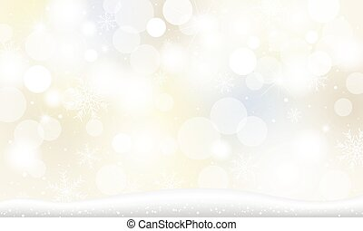 Christmas background design of snowflake and snow falling with bokeh lights in the winter vector illustration