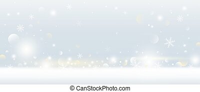 Christmas background design of snowflake and snow falling with bokeh lights vector illustration