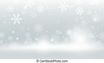 Christmas background design of snowflake and snow falling with bokeh vector illustration
