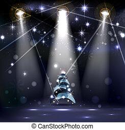 Christmas background - dark Christmas Stage Spotlight with...