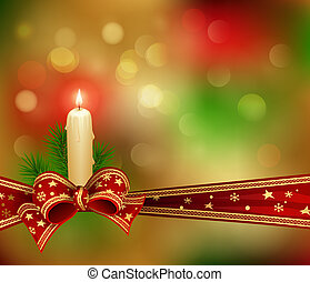 Christmas background with candle, fir branches and ribbon