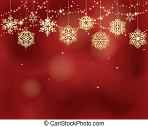 Christmas background with lights and snowflakes