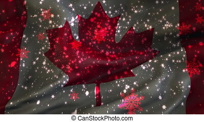 Christmas background , Falling snowflakes, Canada, Flag of Canada, Happy New Year
