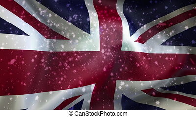 Christmas  background , Falling snowflakes, United Kingdom, Flag of United Kingdom,  Happy New Year