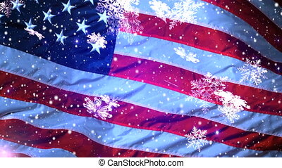 Christmas background , Falling snowflakes, USA, Happy New...
