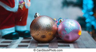 Christmas background, figurine Santa Claus,