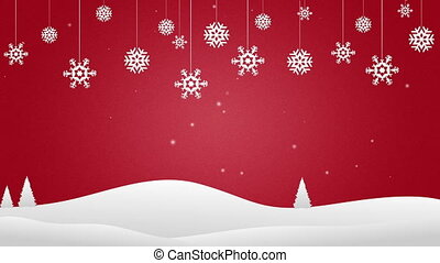 Christmas Background with snow flakes falling down in the...