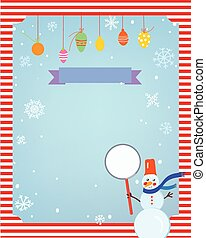 Christmas background for card or invitation with decorations and frame