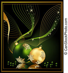 Christmas background gold and green