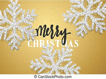 Christmas background gold color with beautiful snowflakes