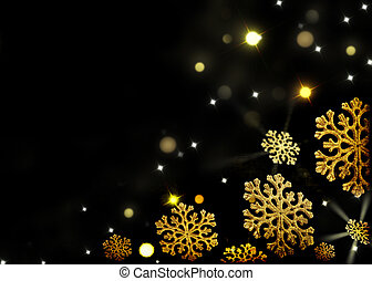 Christmas background - gold snowflakes on a black -...