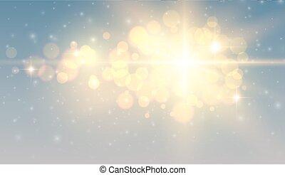 Christmas background, golden blurred lights