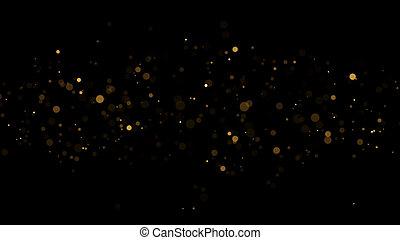 Christmas Background Golden Glitters - 3D Rendered Shining Sparkles