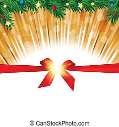 Christmas background greeting card with fir branches ,red bow and copy space