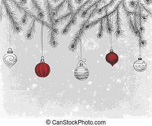 Hand - drawn fir branches decorated with baubles and teardrops on grunge background, Christmas illustration