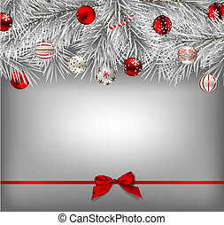Christmas background - White fir branches covered with snow...
