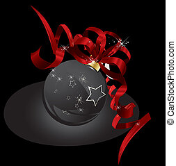 Christmas background in black and red ribbon