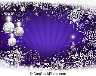 Christmas background in blue with rays of light, white elegant snowflakes.