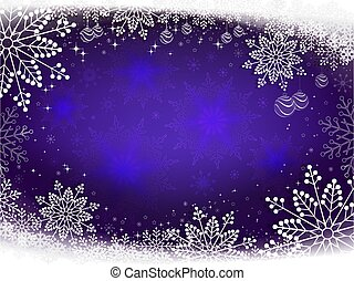 Christmas background in blue with white elegant snowflakes.
