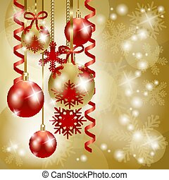 Christmas background in red and gold, vector eps 10