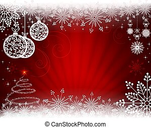 Christmas background in red with rays of light, balls in retro style.