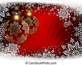 Christmas background in red with rays of light, burgundy large balls.