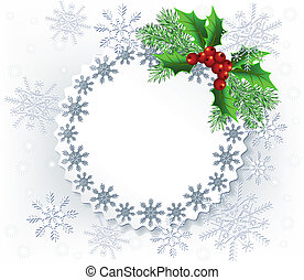 Christmas background - Lace background with spruce twig for...
