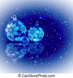Christmas background light blue colors with a set of Christmas shiny balls with snowflakes.