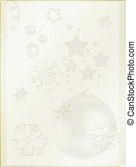 Christmas background. Light parchment like paper, retro mode