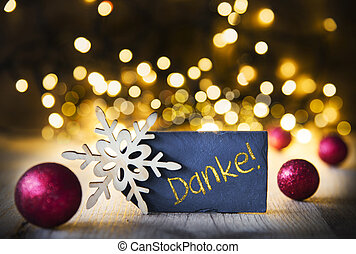 Christmas Background, Lights, Danke Means Thank You - Plate...