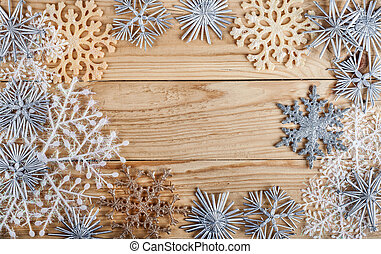 Christmas background. New year decoration on grunge wooden board. Winter holidays concept