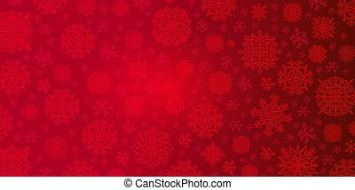 Christmas background of big and small snowflakes in red colors