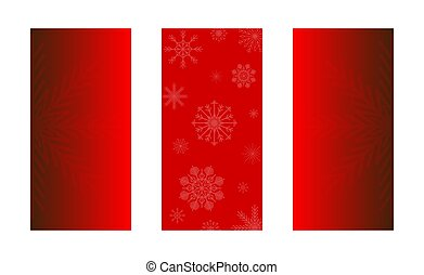 Christmas background of big and small snowflakes, white on red