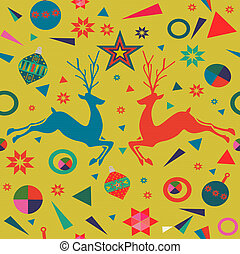 Christmas background of colorful deer decoration
