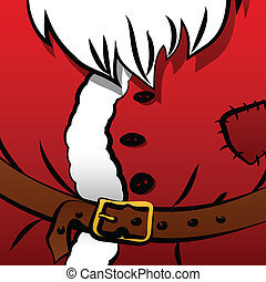 Christmas background of Santa's coat with belt, fur and...