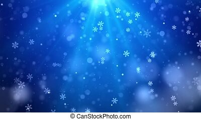 Christmas background of winter snowflakes falling slowly ...