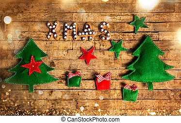Christmas background on a wooden wall
