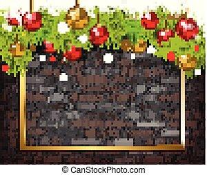Christmas background on brick wall