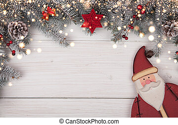 Christmas background on the white wooden desk with Santa ...