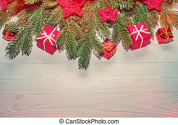 Christmas background on white vintage wooden board