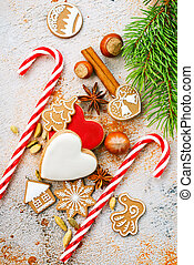 christmas background, christmas cookie and candycane on a...
